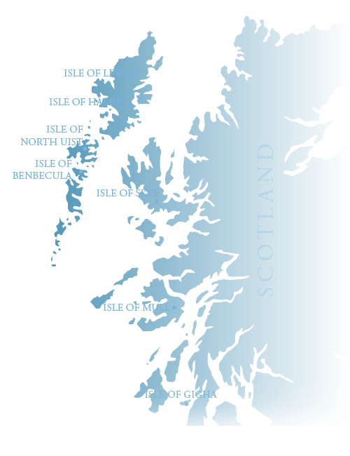 scotland map showing the hebrides